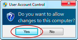 If your computer asks you to allow changes to be made click Yes.